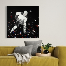 Canvas 36 x 36 - Hockey player ready for action