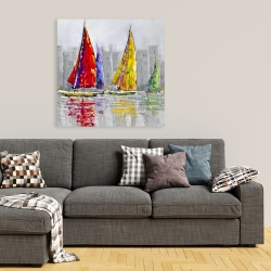 Canvas 36 x 36 - Sailboats in the wind