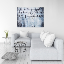 Canvas 36 x 48 - Abstract birds on electric wire