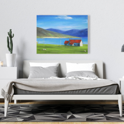 Canvas 36 x 48 - Scottish highlands with a little red roof house