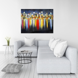 Canvas 36 x 48 - Colorful reflection of a cityscape by night