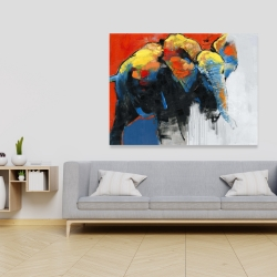 Canvas 36 x 48 - Colorful abstract moving elephant