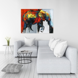 Canvas 36 x 48 - Abstract and colorful elephant in motion