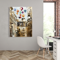 Canvas 36 x 48 - Gloomy street with colorful hot-air balloons