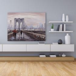 Canvas 36 x 48 - Brooklyn bridge with passersby