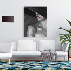 Canvas 36 x 48 - Mysterious woman with a hat