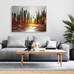 Canvas 36 x 48 - Abstract red skyline