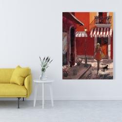 Canvas 36 x 48 - Lady walking down the street