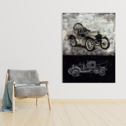 Canvas 36 x 48 - Sketch of a vintage car