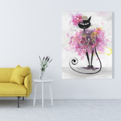 Canvas 36 x 48 - Cartoon cat with pink flowers