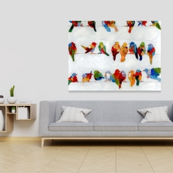 Canvas 36 x 48 - A lot of colorful birds on a wire