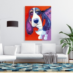 Canvas 36 x 48 - Abstract colorful basset dog
