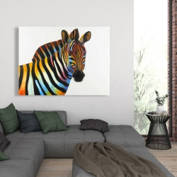 Canvas 36 x 48 - Colorful profile view of a zebra
