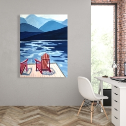 Canvas 36 x 48 - Lake, dock, mountains & chairs