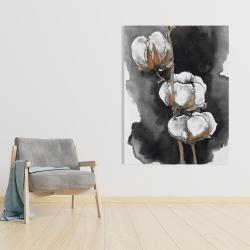 Canvas 36 x 48 - Watercolor cotton flowers