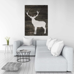 Canvas 36 x 48 - Deer silhouette on wood