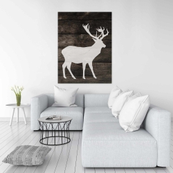 Canvas 36 x 48 - Deer on wood background