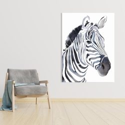 Canvas 36 x 48 - Watercolor zebra