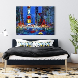 Canvas 36 x 48 - Colorful and abstract times square by night