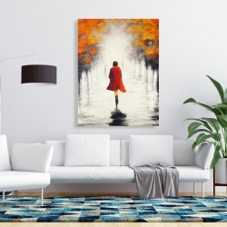 Canvas 36 x 48 - Woman with a red coat by fall