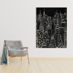 Canvas 36 x 48 - Illustrative city towers