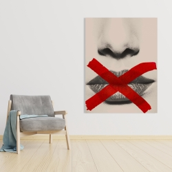 Canvas 36 x 48 - Grayscale lips with a red x