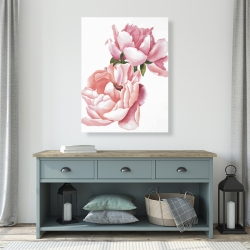 Canvas 36 x 48 - Two pink watercolor roses