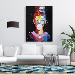 Canvas 36 x 48 - Colorful audrey hepburn portrait with bubblegum