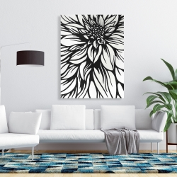 Canvas 36 x 48 - Dahlia flower outline style
