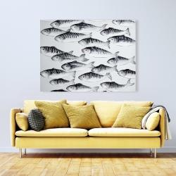 Canvas 36 x 48 - Gray school of fish