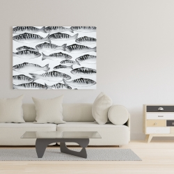 Canvas 36 x 48 - Gray shoal of fish