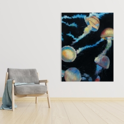 Canvas 36 x 48 - Colorful jellyfishes in the dark