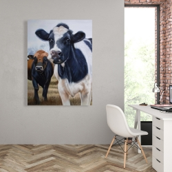 Canvas 36 x 48 - Two cows eating grass