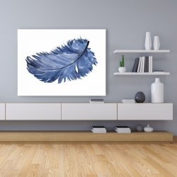 Canvas 36 x 48 - Watercolor blue feather