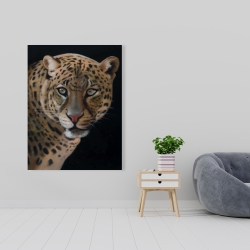 Canvas 36 x 48 - Realistic fierce leopard