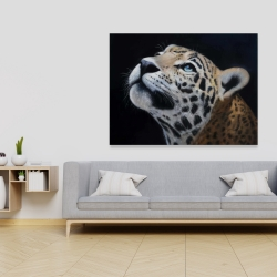 Canvas 36 x 48 - Realistic leopard face