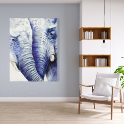 Canvas 36 x 48 - Elephant couple loving each other