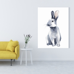 Canvas 36 x 48 - Gray curious rabbit