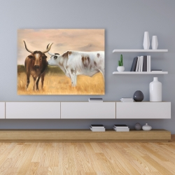 Canvas 36 x 48 - Two cows kissing by sunset