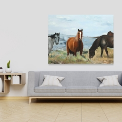 Canvas 36 x 48 - Horses eating in the meadow