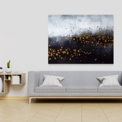 Canvas 36 x 48 - Two shades of gray with gold dots