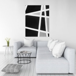 Canvas 36 x 48 - Black and white abstract lines