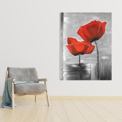 Canvas 36 x 48 - Two red flowers on a grayscale background