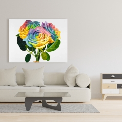 Canvas 36 x 48 - Bouquet of rainbow roses