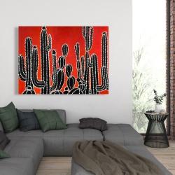 Canvas 36 x 48 - Black tall cactus
