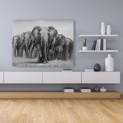 Canvas 36 x 48 - Herd of elephants