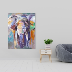 Canvas 36 x 48 - Elephant in pastel color