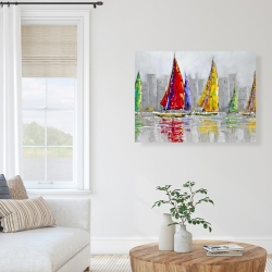 Canvas 36 x 48 - Sailboats in the wind