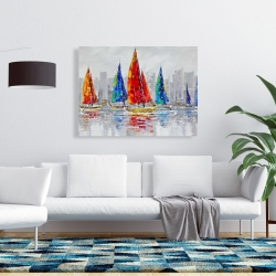 Canvas 36 x 48 - Colorful boats near a gray city