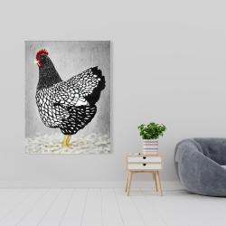 Canvas 36 x 48 - Black and white wyandotte hen